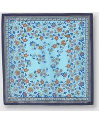 El Corte Inglés - Blue Floral Print Silk Bandanna - Lyst