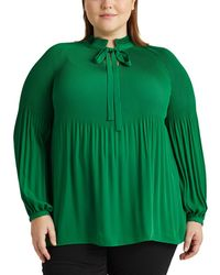 Denim & Supply Ralph Lauren Plus Size Plain-coloured Long Sleeve Blouse - Green