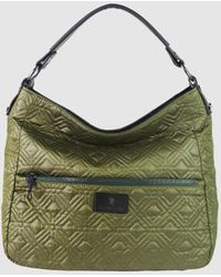 Robert Pietri Green Quilted Nylon Hobo Bag With Outer Pockets