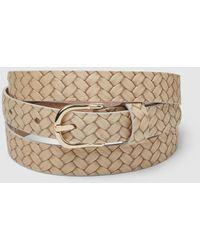 El Corte Inglés Thin Beige Engraved Leather Belt - Natural