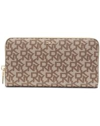 DKNY Large Light Brown Printed Wallet With Zip