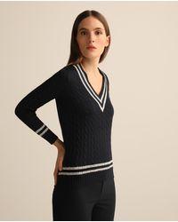 Lauren by Ralph Lauren Wo Long Sleeve V-neck Jumper - Black