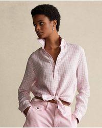 Polo Ralph Lauren Camisa De Mujer En Lino - Rosa