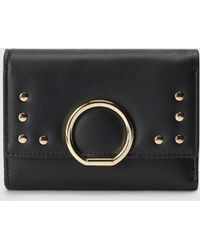 El Corte Inglés - Small Black Wallet With Fastener And Studs - Lyst
