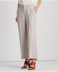 Lauren by Ralph Lauren Wo Plain-coloured Wide-leg Pants - Gray