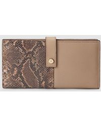 Gloria Ortiz - Sofia Duet Slim Large Combined Taupe Leather Wallet - Lyst