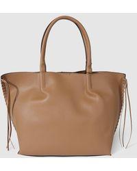El Corte Inglés - Large Camel Shopper Bag With Side Plaiting - Lyst