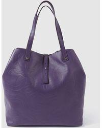 Gloria Ortiz - Sofia Stamp Aubergine Leather Shopper Bag With Brand Logo Embossing - Lyst