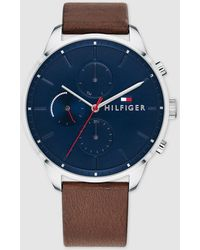 Tommy Hilfiger - 1791487 Brown Leather Multi-function Watch - Lyst