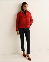 Emporio Armani Wo Reversible Straight-cut Quilted Coat - Red