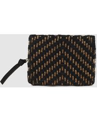 El Corte Inglés - Wo Black And Metallic Plaited Leather Wallet - Lyst