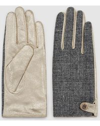 Tommy Hilfiger Golden Leather Gloves With Tartan Print And Fastener - Multicolor