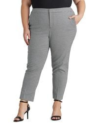 Denim & Supply Ralph Lauren Plus Size Straight-fit Hounds-tooth Check Print Pants - Gray