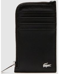 Lacoste Black Leather Vertical Card Holder With Metallic Logo