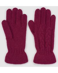El Corte Inglés - Fuchsia Knitted Gloves With Gathering - Lyst