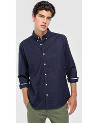 Green Coast - Slim-fit Plain Navy Blue Oxford Shirt - Lyst