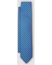 Mirto Corbata Azul Con Estampado Geométrico