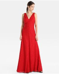 Vera Wang - Red Lace Evening Dress - Lyst