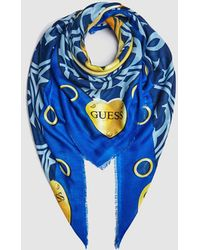 Guess - Blue Handkerchief With Logo Print - Lyst