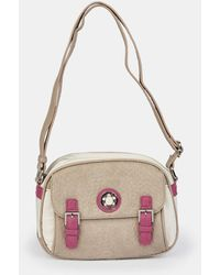 Caminatta Wo Taupe Crossbody Bag With Contrasting Pink And White Details - Natural