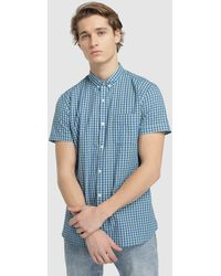 01d4f7036d Slim-fit Two-tone Checked Shirt - Blue