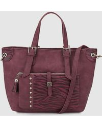 Caminatta - Large Burgundy Tote Bag With Matching Print - Lyst