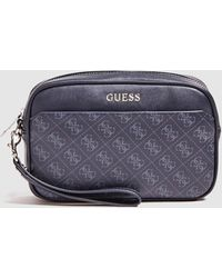 Guess Navy Blue Brand Print Toiletry Bag