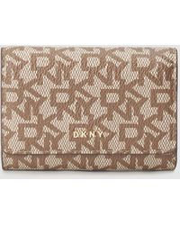 DKNY Beige Printed Purse With Flap - Natural
