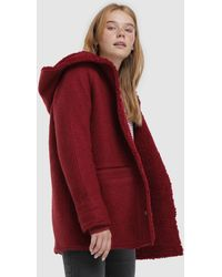 Green Coast Wo Hooded Coat With Shearling Lining - Red