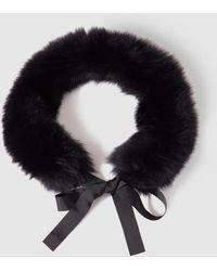 Gloria Ortiz - Black Natural Fur Cowl With Ribbon - Lyst