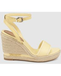 Tommy Hilfiger - Yellow Wedge Espadrilles With Crossed Ankle Strap - Lyst