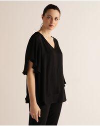 Couchel Blusa De Mujer Talla Grande Con Capas Y Escote En Pico - Negro