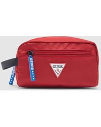 Guess Red Toiletry Bag With Zip