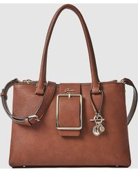 Guess - Brown Handbag With A Front Buckle - Lyst