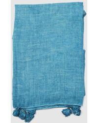 Caminatta - Plain Blue Foulard With Tassels - Lyst