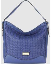 Robert Pietri Navy Blue Hobo Bag With Herringbone Finish