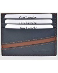 Guy Laroche Navy Blue And Brown Leather Card Holder - Multicolor