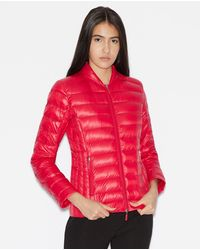 Armani Exchange Wo Short Light Quilted Coat - Red