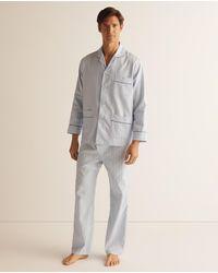 Mirto Pijama Largo De Tela De Hombre Azul - Gris