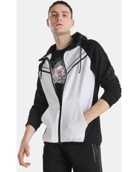 Green Coast - Black And White Hooded Casual Jacket - Lyst