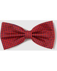 Mirto - Red Silk Embellished Print Bow Tie - Lyst