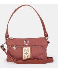 Caminatta Wo Burgundy Nylon Crossbody Bag With Trim - Red