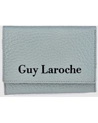 Guy Laroche - Small Pale Blue Grained Leather Wallet With Fastener - Lyst