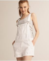 Green Coast Wo Denim Dungarees With Adjustable Straps - White