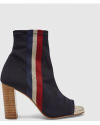 Pedro Miralles - Navy Blue Peep-toes With Contrasting Stripes - Lyst