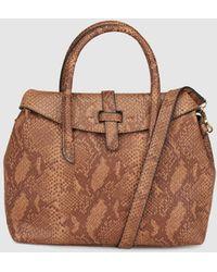 El Corte Inglés - Small Brown Handbag With Snakeskin Effect - Lyst