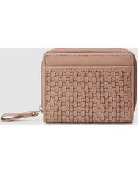El Corte Inglés Small Pink Plaited Leather Wallet