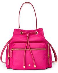 Lauren by Ralph Lauren Debby Medium Fuchsia Nylon Bucket Bag - Pink