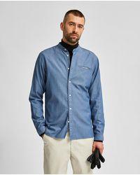 SELECTED - Camisa De Hombre En Algodón Orgánico Slim De Lisa Azul - Lyst