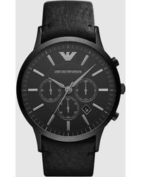 Emporio Armani - Black Stainless Steel & Leather Strap Men's Watch - Lyst
